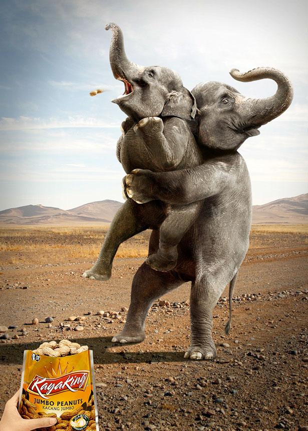 Giant Peanuts Elephant Heimlich maneuver
